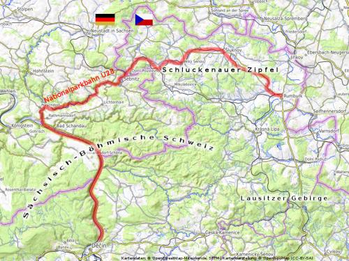 Übersichtskarte nördlichstes Tschechine / Schluckenauer Zipfel