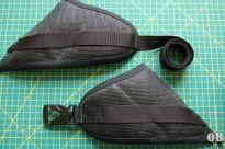 Hüftflossen, mangels 3-D-Spacermesh aus Netzgewebe und Schaumstoff, wie immer an Gittermaterial aus altem Liegestuhl (gibst auch so bei extex zu kaufen)